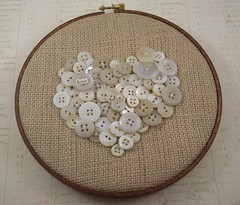 Button Heart Hoop (PisforPaper) Tags: white love altered vintage hoop heart embroidery anniversary assemblage sew button valentines cottagestyle stitched prim primative shabbychic