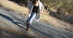 Run for it (elise.berg) Tags: trees brown girl grass hair dead sketch sweater cool weeds gate hole head empty cream running run jeans trail curly pocket cami pathway uggs cutoff runforit