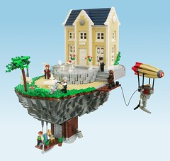 La Maison de Campagne / The Country House (Tho) Tags: rock garden lego victorian floating airship minifig steampunk moc