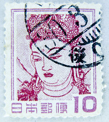 great stamp Nippon Japan 10 Y Kannon (aka Quan m, Guanyin, , Kwan Seum Bosal)          postage franco    selo Japo bollo francobollo Giappone timbre Japon    stamp   (stampolina) Tags: portrait japan post