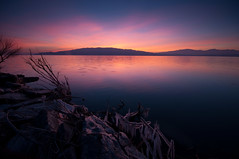 Raw Sunset (Adam's Attempt (at a good photo)) Tags: sunset ice water colors reflections rocks colorful utahlake utahlakesunset