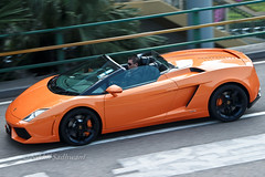 Lamborghini Gallardo Spyder, Causeway Bay, Hong Kong (Nikhil Sadhwani - Photography) Tags: china road morning orange money cars car metal spee