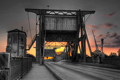 Pick and Choose (Brian Koprowski) Tags: bridge sunset sky blackandwhite fire illinois pentax drawbridge colorsplash hdr joliet pentaxkx topazadjust briankoprowski bkoprowski