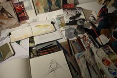 messy - no room for BIG sketchbook (Jennifer Kraska) Tags: art birds sketch jennifer sketchbook kraska jenniferkraska