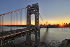 The George Washington Bridge on 1/15/2012 (mudpig) Tags: nyc newyorkcity longexposure bridge sun newyork sunrise geotagged newjersey manhattan nj gothamist georgewashington hdr gwb fortlee starburst georgewashingtonbridge washingtonheights mudpig stevekelley stevenkelley