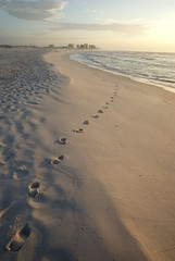 first in the morning (purduebob) Tags: orange sunrise gulf tide low footprints sp perdido easternmost purduebob