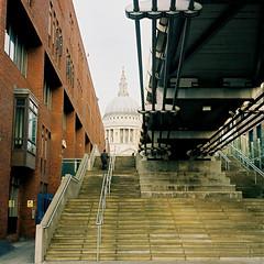 Steps and St Paul's (ho_hokus) Tags: uk bridge winter england london stairs cathedral steps stpauls pedestrian millenniumbridge 35mmfilm stpaulscathedral mjuii stylusepic 2012 ektar olympusmjuii kodakektar100