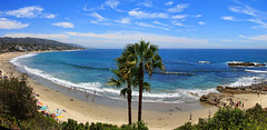 Laguna Beach Panorama (Dave Toussaint (www.photographersnature.com)) Tags: ocean california travel blue sea usa beach nature water rock photoshop canon landscape photo interestingness interesting day pacific cs2 cloudy exploring august panoramic lookout explore socal adobe geology 2009 lagunabeach panaorama adjust infocus autopanopro 40d topazlabs photographersnaturecom davetoussaint