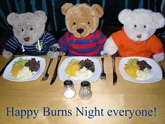 Can we eat now, please? (pefkosmad) Tags: china food ted cute table ginger mashed potatoes funny haggis neeps tatties teddybear meal plates supper robertburns tradition nobby celery cutlery threebears leeks bashed burnsnight peluche swede burnssupper rabbieburns gingernutt nobbynomates tedricstudmuffin
