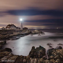 PHL Nights (moe chen) Tags: ocean sea lighthouse seascape night clouds portland stars landscape rocks long exposure elizabeth williams fort head maine sigma atlantic cape 1020mm phl