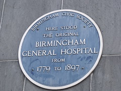 Photo of Birmingham General Hospital blue plaque