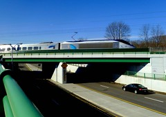 Acela crossing the street (t55z) Tags: street train overpass amtrak mansfield nec acela acelaexpress northeastcorridor amtk