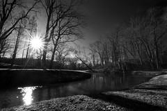 Sunrise in the Valley 1.30.2012 (kevingrallphotography) Tags: blackandwhite bw sun nature monochrome river landscape mono nikon maryland wideangle valley ultrawide sunstar huntvalley d700 1424mmf28ged