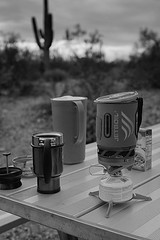 Early Morning Coffee in the Desert (bo mackison) Tags: camping arizona desert nationalparkservice pitcher saguaronationalpark sonorandesert tucsonarizona ussouthwest frenchpresscoffeecup jetboilbackpackerstove luxuryinthedesert