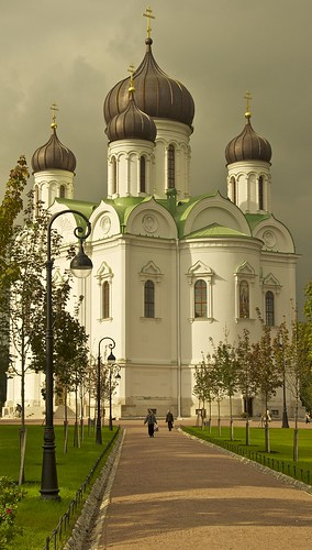 In the town square of Pushkin a church