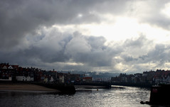 Whitby swathed in cloud. (stokeyouth1) Tags: winter cold clouds canon eos coast seaside harbour yorkshire quay whitby fishmarket eastcoast 500d riveresk