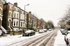 London Snow (fotosiris) Tags: road uk winter england snow cold london ice canon eos europe britain snowfall 550d