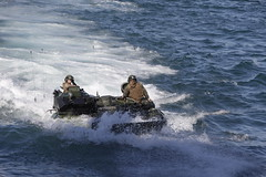 Marine Corps amphibious assault vehicles conduct amphibious operations near the amphibious assault ship USS Kearsarge. (Official U.S. Navy Imagery) Tags: atlanticocean aav lhd3 usskearsarge amphibiousassaultvehicle rlt2 boldalligator12 dk975 lancecplrobertwalters regimentallandingteam2 wwwfacebookcomusnavy