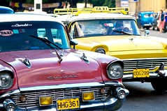 Havana Taxis (IRainyDays) Tags: red ford chevrolet yellow havana taxis 1957