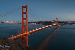 Blue Hour at The Golden Gate Bridge - San Francisco (AlkhashabNawaf) Tags: california bridge blue light red sky usa america walking golden nikon gate san francisco hawk hill jose pedro hour nikkor d800 nawaf 1635 جسر سان الذهبيه كاليفورنيا البوابه فرانسيسكو alkhashab