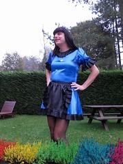 Maid needs work (Paula Satijn) Tags: blue black sexy girl garden uniform skirt tgirl apron satin maid gurl frenchmaid