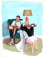 Spanking by Richard F. Williams (Tom Simpson) Tags: woman man ass illustration vintage painting bdsm redhead spanking spank dickwilliams richardfwilliams