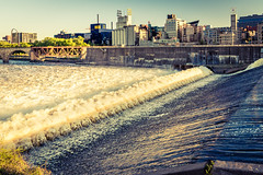 Riverwalk 2/10 (<shorewood>) Tags: bridge sunset urban architecture vintage river mississippi waterfall downtown minneapolis guthrie torrent turbulence stonearch stanthonyfalls