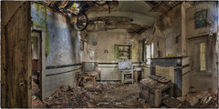 Sorry, Mister, the kitchen's closed. (Yamabxl) Tags: panorama abandoned kitchen cuisine belgium decay ghost creepy forbidden hidden forgotten urbanexploration derelict hdr highdynamicrange dereliction verlassen urbex verfall abbandonato verlaten lostplaces prohib prohibed urbexhdr