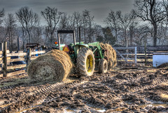 GY8A4596PM.jpg (BP3811) Tags: tractor field fence farm hay loader bale muddy hdr johndeere ruts