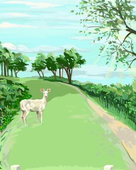 White Deer on Fairway (Plumkin) Tags: trees england sunlight white west green english grass leaves illustration clouds digital golf sussex countryside sketch vineyard shadows drawing label branches plum deer brushes albino fairway rare ovelgonne roosthole