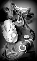 gas masks (Jackal1) Tags: bw canon vintage 50mm war military collection gasmasks