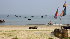 Da Nang Bay Basket boats on beach with a bicycle (paul.trottier) Tags: colour art beach beautiful bicycle photo nikon colours arty artistic creative vietnam colourful nikkor 28300mm d610 basketboat danangbay paultrottier