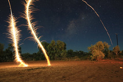 Shooting for the stars. (erglis_m (Mick)) Tags: longexposure nightphotography light colour contrast canon landscape interesting fireworks nt fineart timeexposure northernterritory theoutback centraldesert tanami tanamitrack tanamidesert lajamanu theaustralianoutback canoneos5dmkiii