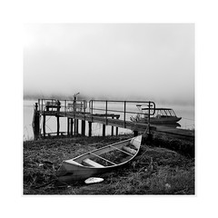 At the jetty (Peter & Olga) Tags: monochrome fog sunrise boats jetty may spencer hawkesburyriver 2016 d810 olgabaldock