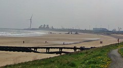 Cambois Beach (annebower10) Tags: england beach nature misty coast seaside sand warm north sunny east flats northumberland huge silos hazy turbine cambois vast