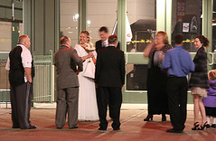 Miller Park wedding (floating_stump) Tags: milwaukee wisconsin millerpark stadium outdoorwedding thehappycouple brideandgroom rebelxti night lowlight improvisedtripod bride ccmkephotowalk