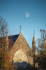 The Moon over the Gunne Chapel (bbusschots) Tags: astrophotography church evening historicbuilding history ireland kildare localhistory maynooth moon nuim photomatix spcm tonemapped hdr tthdr topaz topazadjust tower chapel gunnechapel