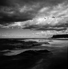 Whole Frame (7) (2) (5) (Simon Hampton) Tags: ocean longexposure blackandwhite 120 film beach monochrome clouds analog zeiss mediumformat coast sydney australia hasselblad 55mm redfilter 10minutes 20degrees neutraldensityfilter ddx14 fujineopanacros100 simonhampton