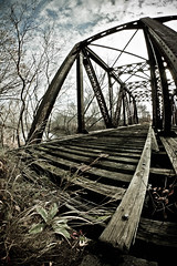 End of the Line (geek!) Tags: railroad bridge abandoned tracks newengland newhampshire nh fisheye nashua merrimackriver