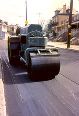 Steamroller Paving Southern Avenue (near Simms Street) c.1971 (captainpandapants) Tags: road street city house building work construction pittsburgh workmen mechanical pennsylvania pavement working machine places mtwashington machinery pa paving 1970s steamroller asphalt paver pave mountwashington buildingtypes