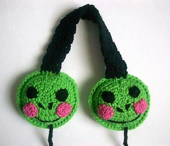 Froggy the frog earmuffs (Mooy) Tags: cute green animal shop fun handmade crochet frog kawaii etsy froggy mooeyandfriends