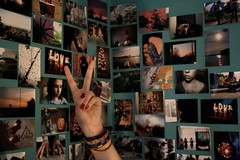 Photo Wall, 4/52 (meaghanmay) Tags: pictures love peace hand photos bokeh teal christmastree peacesign photowall picnik braclets
