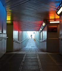 Waterloo Subway, London (D-W-J-S) Tags: street light reflection london reflections dark underpass subway lights crossing transport tunnel waterloo handrail