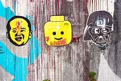 Heads (Viajante) Tags: streetart pasteup art wall austin us texas unitedstates faces lego darthvader