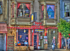 Cafe Mystique HDR (Walker Dukes) Tags: sanfrancisco blue red urban food orange white house plant signs black tree green coffee leaves sign yellow shirt pancakes photoshop reflections bag menu landscape person restaurant rainbow neon cityscape legs sandals flag comida victorian bald jeans eggs vase curtains sfbayarea shoulder rainbowflag edwardian potted headed photomatix tonemapping rungy