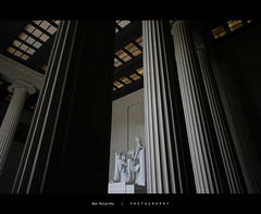 Through the Pillars of Greatness - Lincoln Memorial, Washington D.C (Ben Mac) Tags: statue america mall us dc washington memorial unitedstates pillar abraham national lincoln marble