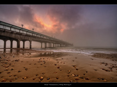 56.2011 - Misty Morning II (Pawel Tomaszewicz) Tags: camera uk sea mist beach clouds sunrise canon photography pier sand europe angle image wide wideangle pebbles dorset bournemouth dri molo hdr poole hdri pawel boscombe 1200x800 tomaszewicz