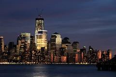 New World Trade Centre at Night (Fred J Carss) Tags: light usa ny night america dark lights dusk centre hudsonriver lit manhatten worldtrade