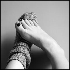 7_366 (LorneB64) Tags: bw feet foot sock toes toe knitted nailpolish nailvarnish