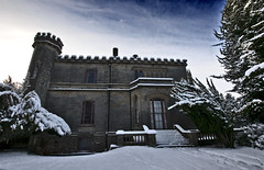East elevation, Leys Castle. (prajpix) Tags: winter snow castle stairs scotland steps highland leys inverness